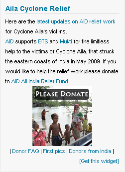 Aila Cyclone Relief Widget